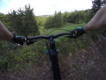 POV shot of MTB biker searching trail. Royalty Free Stock Photography