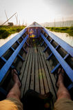 POV sitting on a lila boat Inle Lake Stock Images