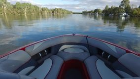 POV from Ski Boat on the Murray River Australia stock footage