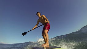 POV Stand Up Paddle Surfer stock video footage