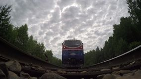 POV,  train over cam end of train stock video footage