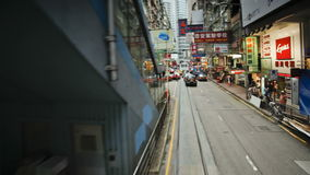 Pov trams which run in central Hong Kong Island along connaught road china stock footage