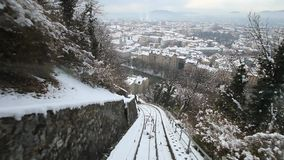 POV travelling along a funicular in Graz. Austria stock video