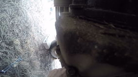POV under axeln för propeller för bilmanreparation arkivfilmer