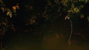 POV van slachtoffer het verbergen van gevaarlijke seriemoordenaar in donkere bos, gekke maniak stock footage
