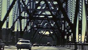 Oakland Bay Bridge. POV of vintage car crossing Oakland Bay Bridge passing by Treasure Island to Oakland. Archival footage in eighties. San Francisco, California stock video footage