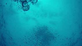 POV von unter Wasser mit den Blasen tief sinken, die aufwärts strömen stock video