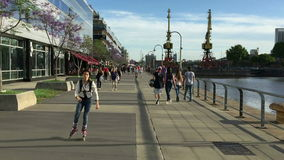 POV walk trough Madero Harbor in Buenos Aires City on spring sunday stock video footage