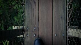 POV Walking On Forest Walkway stock footage