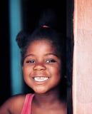 Poverty. Poor african child in the door, village near Kalahari desert, Botswana royalty free stock image
