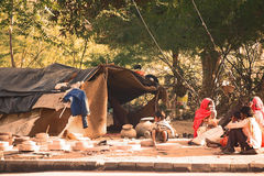 Poverty. Indian poverty. Poor, homeless people living in the self-made tents in Jodhpur, India stock image