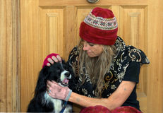 Poverty. A homeless woman with her dog Stock Images