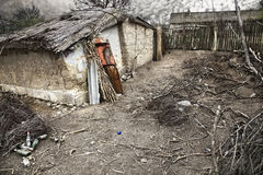 Poverty. Deserted house with many branches in the courtyard Royalty Free Stock Image