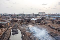 Poverty in Africa. Slums in Lagos, Nigeria Royalty Free Stock Images