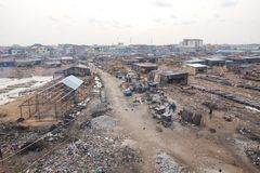 Poverty in Africa. Slums in Lagos Nigeria Royalty Free Stock Images