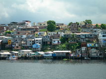 Poverty on the Amazon river in Manaus. Favelas, poverty on the Amazon river in Manaus stock photo