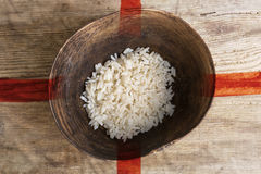 Poverty concept, bowl of rice with England flag Stock Photo