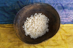 Poverty concept, bowl of rice with Ukraine flag royalty free stock photography
