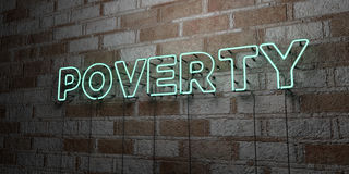 POVERTY - Glowing Neon Sign on stonework wall - 3D rendered royalty free stock illustration Royalty Free Stock Images