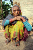 Poverty in India. February 08,2012 Bardhawan,West Bengal,India,Asia-A portrait of a poor old woman in a remote village of India Royalty Free Stock Photo