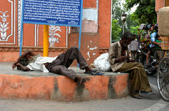 Poverty in Jaipur, India. Tramp in the Street of Jaipur, India Royalty Free Stock Photo