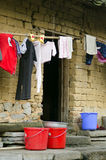 Poverty - poor housing in a village Royalty Free Stock Image