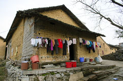 poverty - poor housing in a village in China Stock Photo