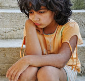 Poverty and poorness on the expression. Of children Royalty Free Stock Image