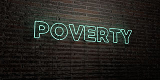 POVERTY -Realistic Neon Sign on Brick Wall background - 3D rendered royalty free stock image Stock Image