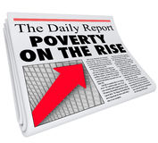 Poverty on the Rise Newspaper Headline Poor Conditions Increase Stock Photo