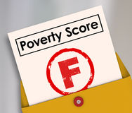 Poverty Score F Grade Report Card Failure Hunger Poor Conditions. Poverty Score F Grade on report card to illustrate poor living conditions, hunger and lack of Royalty Free Stock Image