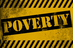 Poverty sign yellow with stripes Royalty Free Stock Photography