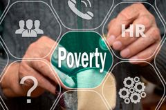 Poverty text on the touch screen on the background of a man with an empty wallet and a coin in his hands. The concept of poverty. Awareness. Bankruptcy, adult royalty free stock photos