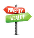 Poverty wealth road sign illustration Stock Photos