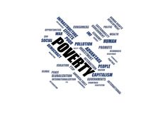 POVERTY - word cloud wordcloud - terms from the globalization, economy and policy environment Royalty Free Stock Images