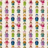 Povo chinês do teste padrão seamlese dos desenhos animados Fotos de Stock
