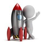 povos 3d pequenos ao lado do foguete Imagem de Stock