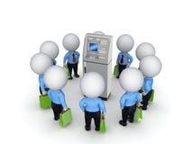 povos 3d pequenos em torno do ATM. Foto de Stock