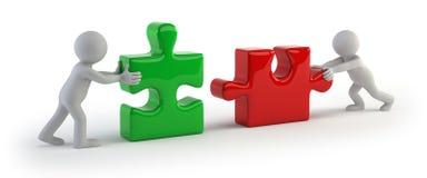 povos 3d pequenos - o enigma dois conecta Imagens de Stock Royalty Free