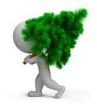 povos 3d pequenos que carreg a árvore de Natal Imagens de Stock Royalty Free