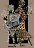 Povos abstratos que estão em um quadro de porta Fotos de Stock Royalty Free
