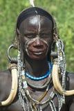 Povos africanos 7 de Mursi fotografia de stock royalty free