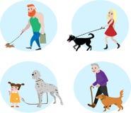 Povos ajustados do vetor do proprietário do cão Imagem de Stock Royalty Free