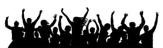 Povos alegres da multidão Esteja grupo de pessoas sozinho, separado ilustração stock