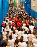 Povos antes do festival de Tomatina do La imagem de stock
