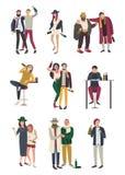 Povos bêbados na vária situação Caráteres lisos ajustados mulher e homem, menina e menino no fundo branco ilustração do vetor