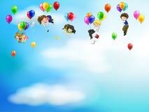 Povos bonitos e crianças dos desenhos animados que flutuam no s Fotografia de Stock