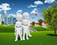 Povos brancos da família 3d Imagens de Stock Royalty Free