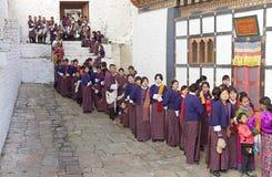 Povos butaneses no Trongsa Dzong, Trongsa, Butão Imagens de Stock Royalty Free