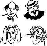 Povos cômicos e emoções da ilustração do vetor Fotos de Stock Royalty Free